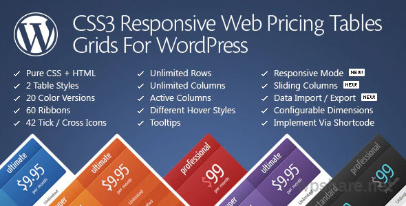 CSS3 Responsive WordPress Compare Pricing Tables v11.3