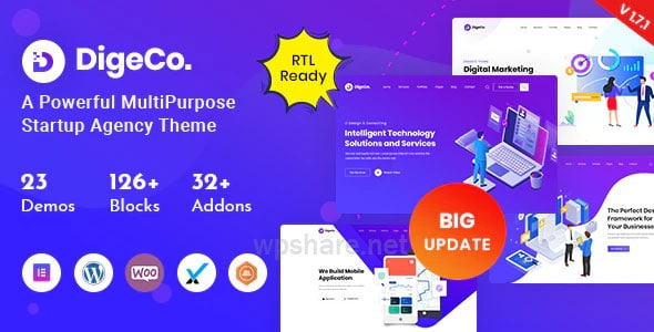 Digeco 1.7.3 – Startup Agency WordPress Theme