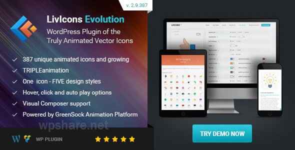 LivIcons Evolution for WordPress – The Next Generation of the Truly Animated Vector Icons v2.9.387