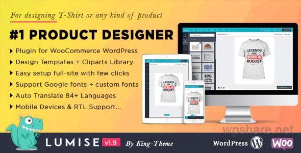 Lumise – Product Designer for WooCommerce WordPress v1.9.8