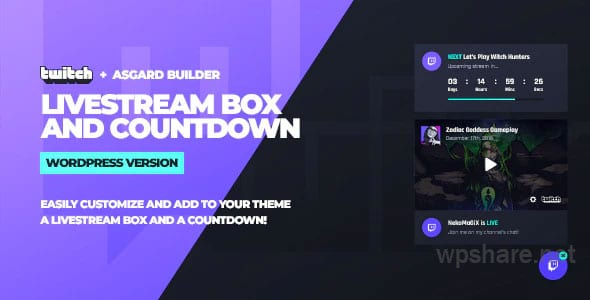 Twitch LiveStream Box and Countdown WordPress Plugin – v1.1.1