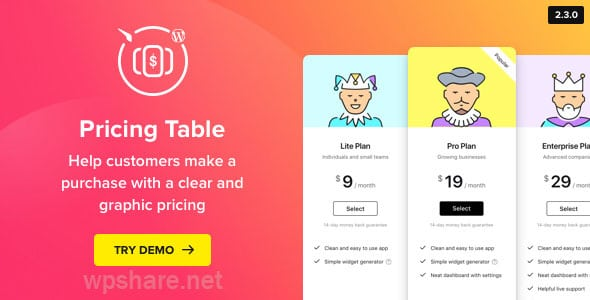 Pricing Table — WordPress Pricing Table Plugin v2.6.1