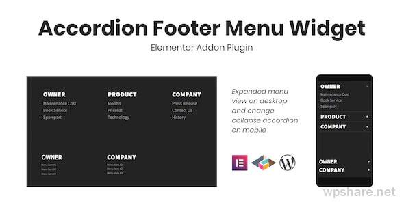 Accordion Footer Menu Widget For Elementor v1.0.0