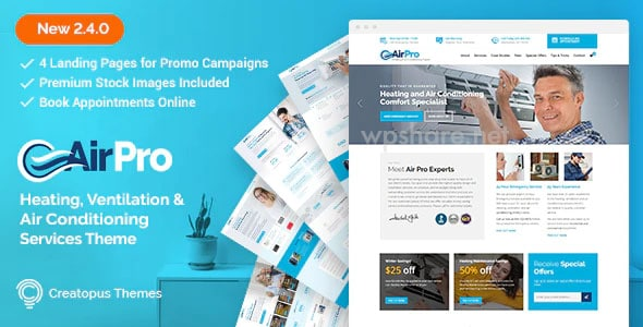 AirPro 2.6.6 – Heating and Air conditioning WordPress Theme for Maintenance Services