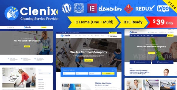 Clenix 1.4.6 – Cleaning Services WordPress Theme