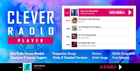 CLEVER 2.0.0 – HTML5 Radio Player With History – Shoutcast and Icecast – WordPress Plugin