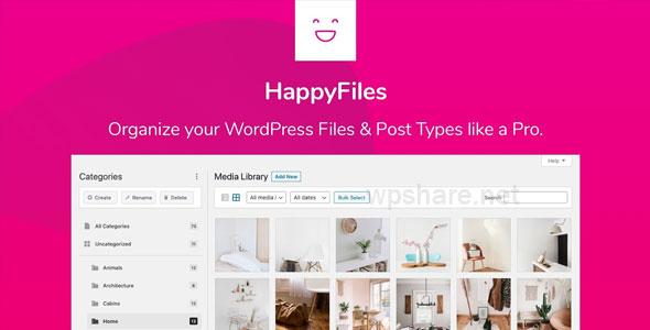 HappyFiles Pro v1.5.1 – Organize your WordPress Media Files & Post Types like a Pro