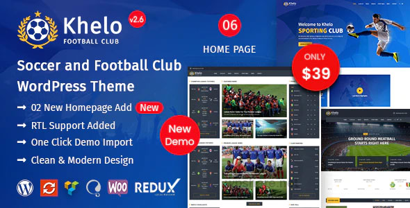 Khelo 2.7.1 – Soccer & Sports WordPress Theme