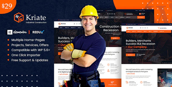 Kriate 1.0 – Industrial Construction Multipurpose WordPress Theme