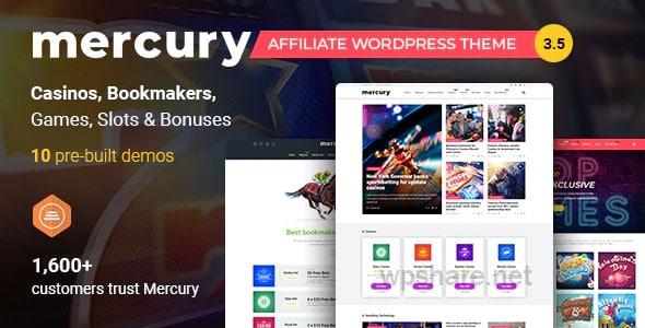 Mercury 3.5.1 – Gambling & Casino Affiliate WordPress Theme. News & Reviews