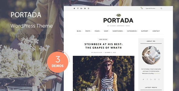 Portada 2.0 – Elegant Blog Blogging WordPress Theme
