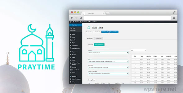 PrayTimes 1.0.1 – Islamic Prayer Time WordPress Plugin