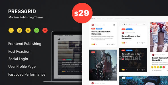 PressGrid – Frontend Publish Reaction & Multimedia Theme v1.3.1