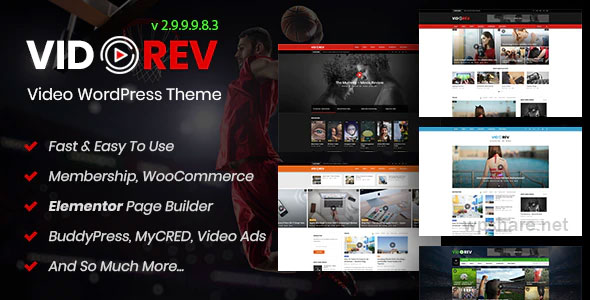 VidoRev 2.9.9.9.8.5 – Video WordPress Theme