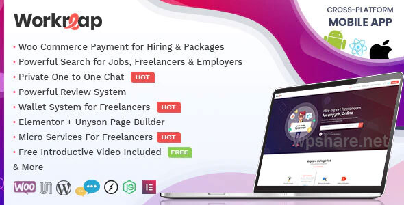 Workreap 1.8.0 – Freelance Marketplace and Directory WordPress Theme