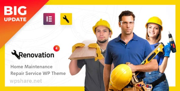 Renovation 4.1.9 – Repair Service, Home Maintenance Elementor WP Theme