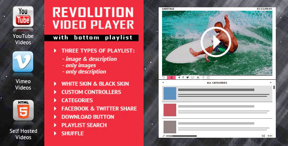 Revolution Video Player With Bottom Playlist 2.4 – YouTube/Vimeo/Self-Hosted Support