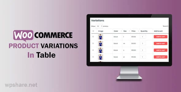 WooCommerce Variations In Table 1.0.8