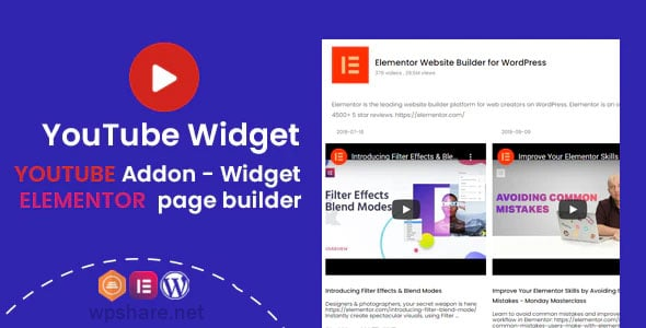 YouTube Widgets 1.0.1 – Addon for elementor page builder