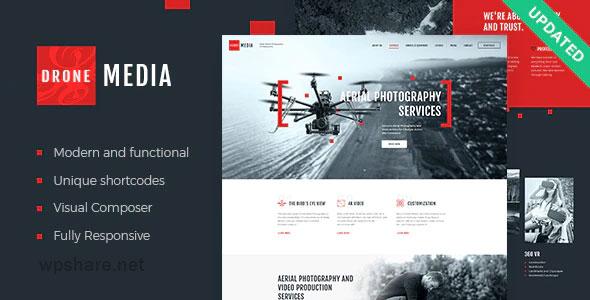 Drone Media 1.3.4 – Aerial Photography & Videography WordPress Theme + Elementor