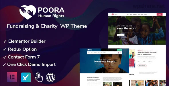 Poora 1.0 – Fundraising & Charity WordPress Theme