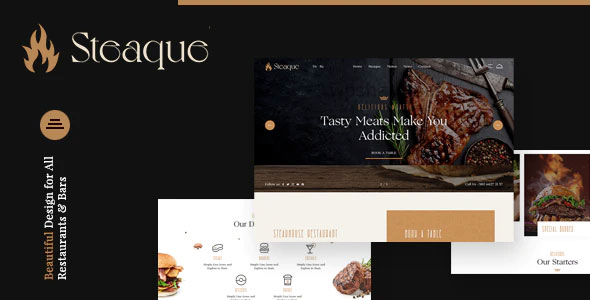 Steaque 1.0.0 – Restaurant and Cocktail Bar WordPress Theme