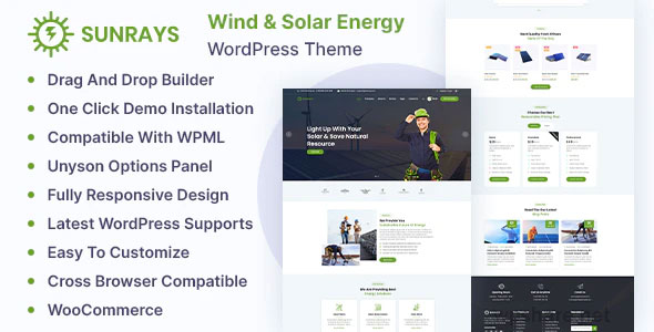 Sunrays 1.0.0 – Solar Power & Green Energy WordPress theme