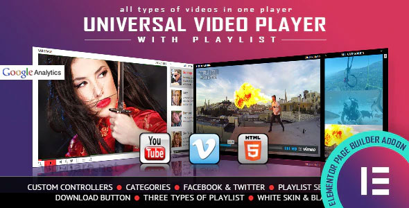 Universal Video Player 1.0.0 – YouTube/Vimeo/Self-Hosted – Elementor Widget