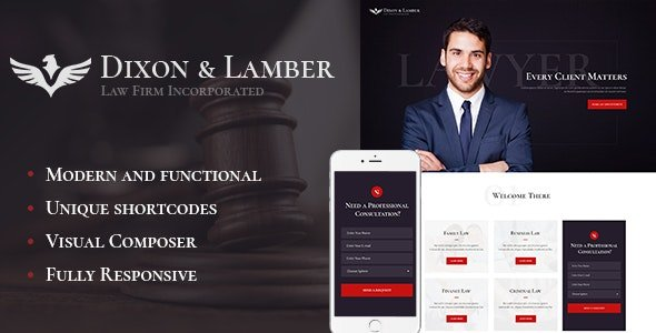 Dixon & Lamber 1.2.1 – Law Firm WordPress Theme
