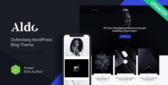 Aldo 1.0.4 – Black and White Gutenberg Blog WordPress Theme