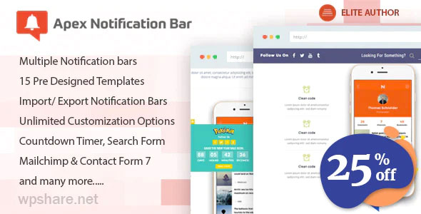 Apex Notification Bar 2.1.8 – Responsive Notification Bar Plugin for WordPress