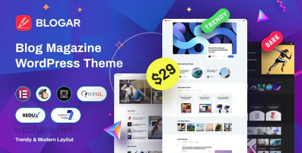 Blogar 1.1.0 – Blog Magazine WordPress Theme
