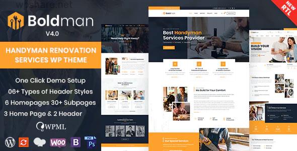 Boldman 4.1 – Handyman Renovation Services WordPress Theme