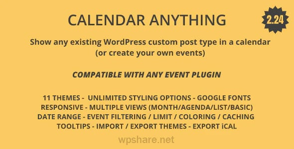 Calendar Anything 2.26 – Show any existing WordPress custom post type in a calendar