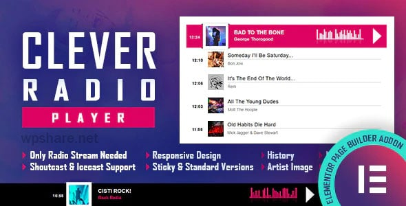 CLEVER – HTML5 Radio Player With History – Shoutcast and Icecast – Elementor Widget Addon v1.7.0