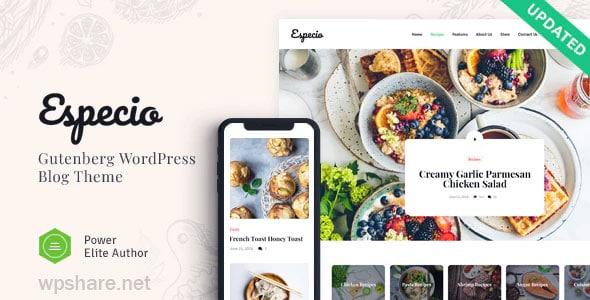 Especio 1.0.3 – Personal Gutenberg Food Blog WordPress Theme