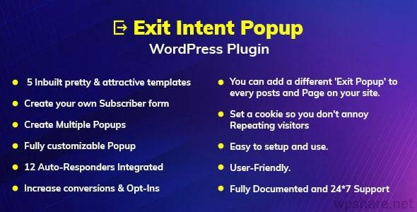 Exit Intent Popup WordPress Plugin v1.0.0