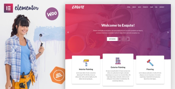Exqute 1.7.1 – Painting Company WordPress Theme