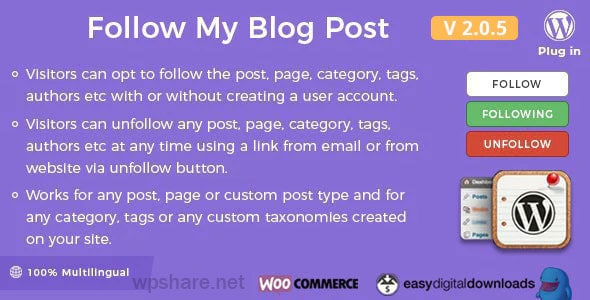 Follow My Blog Post 2.0.5 – WordPress/WooCommerce Plugin