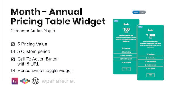 Month 1.1.0 – Annual Pricing Table Widget For Elementor
