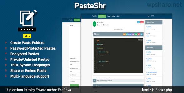 PasteShr 2.8.1 – Text Hosting & Sharing Script