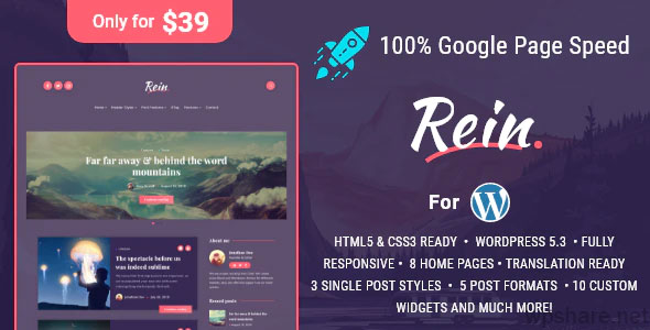 Rein 2.2.7 – Minimal Lightweight Dark Theme for WordPress
