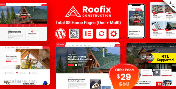 Roofix 1.4.3 – Roofing Services WordPress Theme