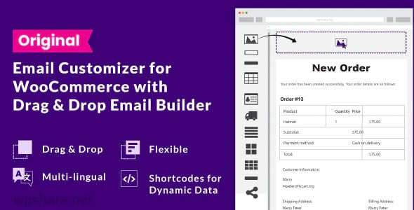Email Customizer for WooCommerce with Drag and Drop Email Builder v1.5.16