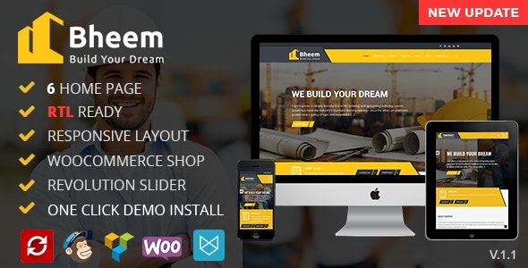 Bheem 1.6 – Construction Industry Agency WordPress Theme with RTL Ready