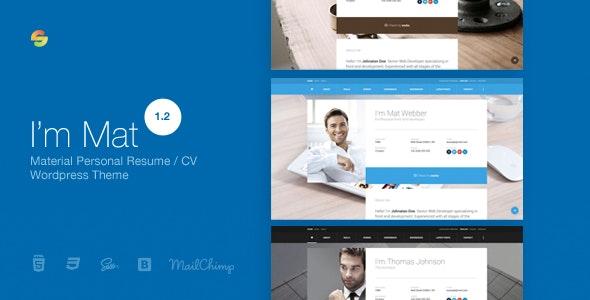 I am Mat 1.2 – Material Personal Resume / CV vCard WordPress Theme