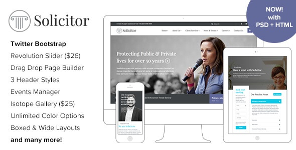 Solicitor 2.0 – Law Business Responsive WordPress Theme