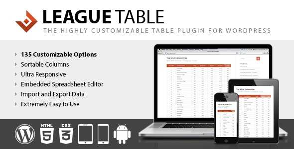 League Table 2.13 – WordPress Plugin