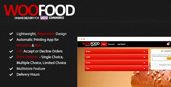 WooFood 2.6.5 – Food Ordering (Delivery/Pickup) Plugin for WooCommerce & Automatic Order Printing
