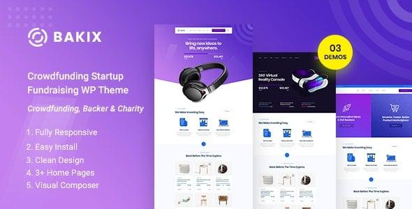 Bakix 1.0 – Crowdfunding Startup & Fundraising WordPress Theme